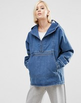 Asos Denim Hoodie with Kangaroo Pocket in Mid Blue Wash