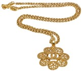 Chanel CC Gold Tone Hardware Flower Medallion Long Necklace