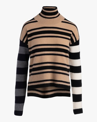 Naadam Hi-Lo Striped Turtleneck