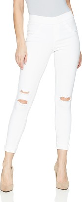 Hue Women's Ripped Cuffed Curvy Fit Denim Skimmer Leggings