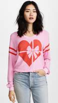 Wildfox Couture Ribbon Heart V Neck Tee