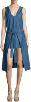Cameo All Day Tie-Front Denim Dress, Denim