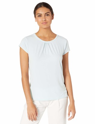 Karl Lagerfeld Paris Women's Short Sleeve Matte Jersey Top with Pearl Neck