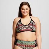 Xhilaration Women's Plus Size Bralette Bikini Top Coral Multicolor 18W