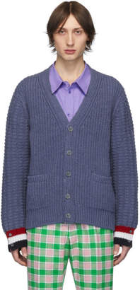 Thom Browne Blue Merino Chunky Funmix Stitch Cardigan