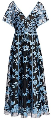 Lela Rose Floral Embroidered Cocktail Dress