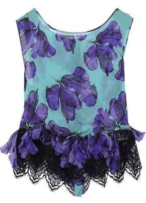 Alberta Ferretti Lace-trimmed Appliqued Printed Silk-chiffon Top