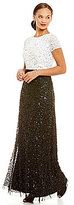 Adrianna Papell Two-Tone All Over Sequin A-Line Gown