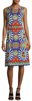 Dolce & Gabbana Silk Printed Fit And Flare Dress