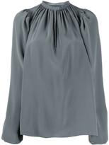 Rochas long sleeve gathered neck silk blouse