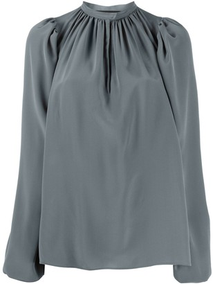 Rochas Long Sleeve Gathered Neck Silk Blouse