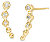 Zales 1/10 CT. T.W. Diamond Beaded Crawler Earrings in Sterling Silver with 14K Gold Plate