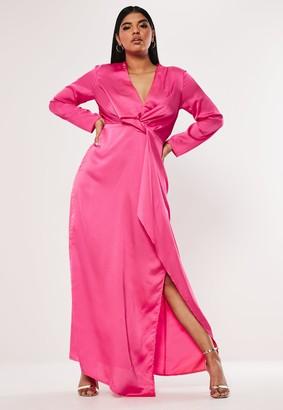 Missguided Plus Size Pink Satin Thigh Split Maxi Dress