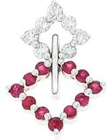 Rendez Vous Jewelry 0.52CTW 18K White Gold Genuine Natural Ruby and Diamond Pendant