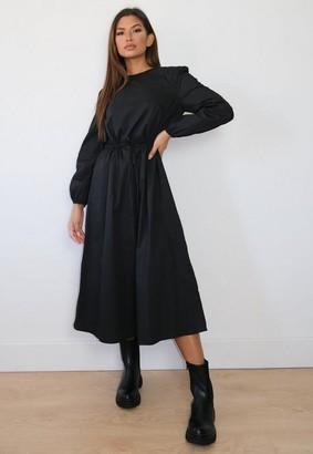 Missguided Black Poplin Tie Waist Midi Smock Dress