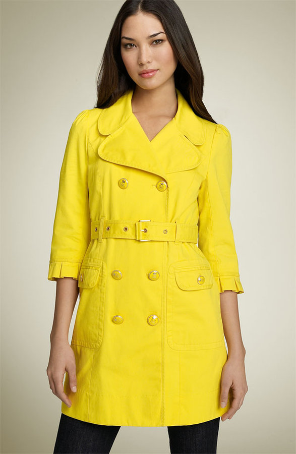 Juicy Couture Ruffle Sleeve Belted Trench Coat