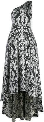 Tadashi Shoji Kolab one-shoulder jacquard gown