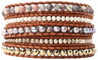 Chan Luu Taupe Mix of Semi-Precious Stones On Natural Dark Brown Leather Wrap Bracelet