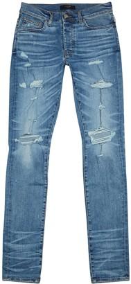 Amiri Thrasher Plus Blue Distressed Skinny Jeans