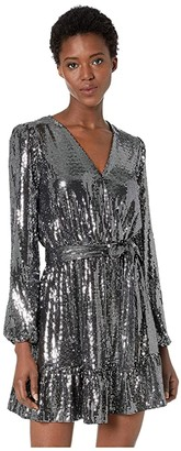 MICHAEL Michael Kors Mirror Dot Crossover Dress (Black/Silver) Women's Dress