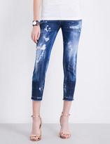 DSQUARED2 Paint splatter skinny mid-rise jeans