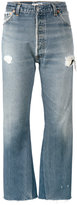 RE/DONE originals Distressed Blue high waisted cropped jeans