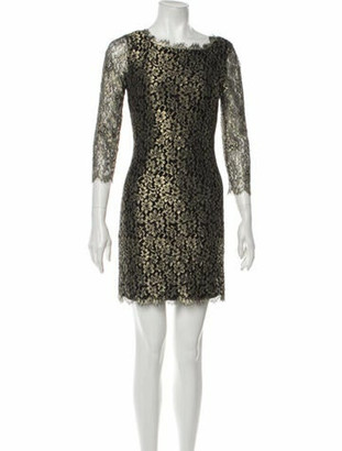 Diane von Furstenberg Lace Pattern Mini Dress w/ Tags Gold