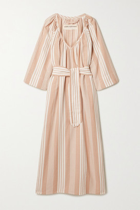 Mara Hoffman Net Sustain Luz Striped Tencel Lyocell And Organic Cotton-blend Midi Dress - Sand