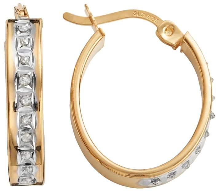 Diamond Mystique 18k Gold Over Silver Diamond Accent Oval Hoop Earrings