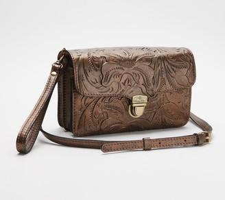 Patricia Nash Leather Crossbody Bag - Embossed Bianco