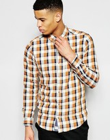 Pull&bear Checked Shirt In Orange And Navy Regular Fit