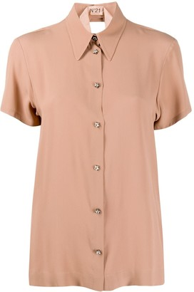 No.21 Pointed Collar Short-Sleeved Blouse