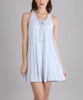 Heather Gray Lace-Up Sleeveless Shift Dress
