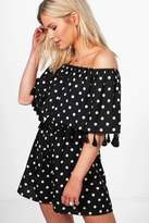 boohoo Jade Polka Dot Off Shoulder Tassel Playsuit black