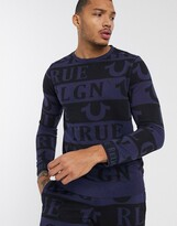 True Religion all over print sweatshirt in navy