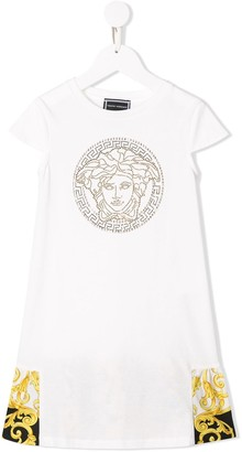 Versace baroque and rhinestone T-shirt dress