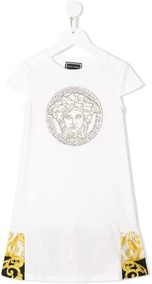 Versace baroque and rhinestone T-shirt dress