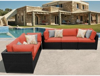 Sol 72 Outdoor Fernando Outdoor 5 Piece Sofa Seating Group with Cushions Cushion Color: Tangerine