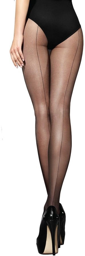 Marilyn sheer tights with subtle black stitching 20 deniers size 40 (L)
