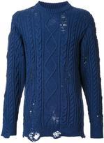 Miharayasuhiro distressed aran knit jumper