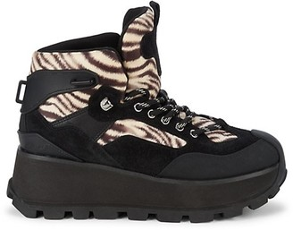 Ash Sonic Leopard-Print Mixed-Media Hiking Boots
