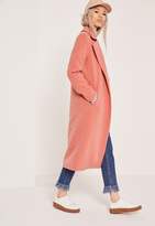 Missguided Longline Faux Wool Duster Coat Pink