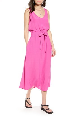 Treasure & Bond Sleeveless Tie Waist Midi Dress