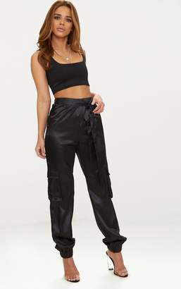 PrettyLittleThing Petite Black Satin Cargo Trousers