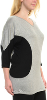 Bellino Heather Gray & Black Panel-Accent V-Neck Top - Plus