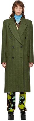 Dries Van Noten Green Alpaca and Wool Double-Breasted Coat