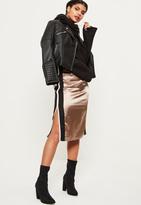 Missguided Gold Satin Sports Stripe Side Midi Skirt