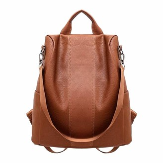 Doldoa Women's Large Capacity Leather Backpack with Shoulder Bags Zipped Anti-Theft Travel Bags