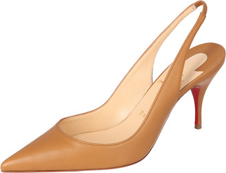 Christian Louboutin Tan Leather Clare Slingback Pointed Toe Pumps Size 37.5