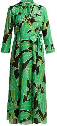 Diane von Furstenberg Clarem Cotton-blend Voile Wrap Dress - Womens - Black Green